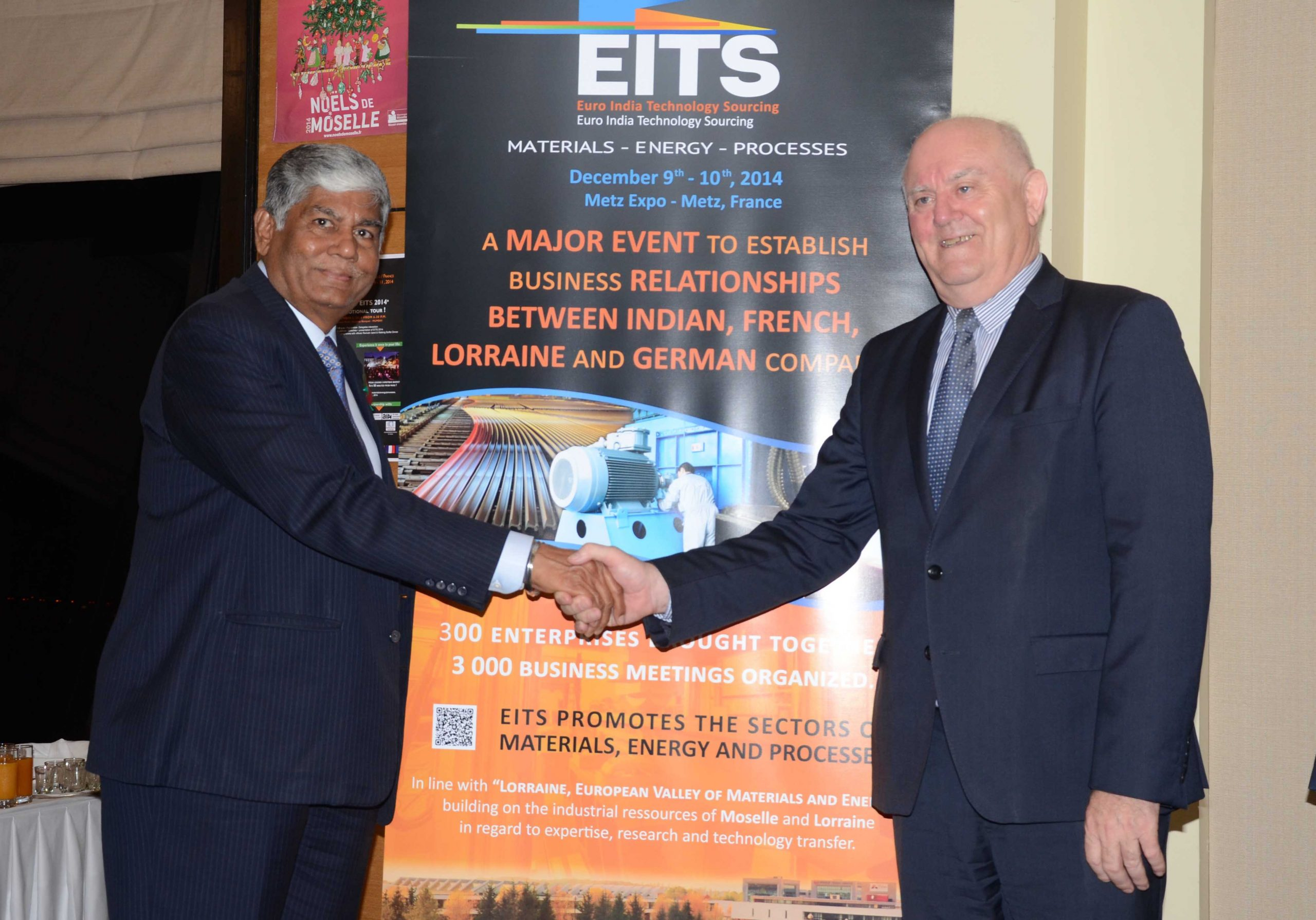 Mr. Vijay Kalantri, President, All India Association of Industries and Vice-Chairman, MVIRDC World Trade Centre and Mr. Claude Bitte, Vice President DU Conseil General DE LA Moselle  during the meeting organised by AIAI and WTC to promote EITS 2014 being organised by Moselle Development Agency in Metz, France.